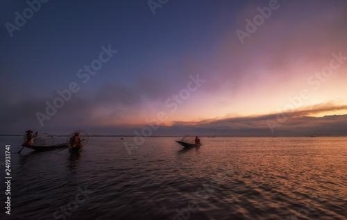 Sunrise Inle lake.