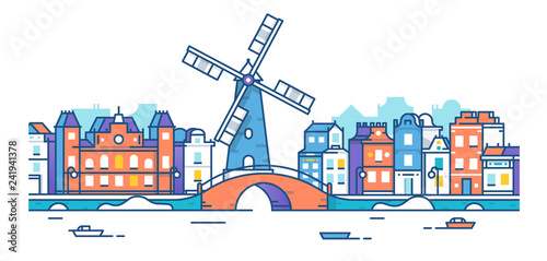 Banner of Amsterdam city in flat line trendy style. Amsterdam city line art. European city. Old town. The city of mill. City landscape. Flat design style.