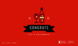 Congratulations Message with Wine Glass Vector Illustration - 241941704
