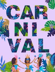 Mardi Gras Carnival poster template with Brazilian samba dancer. Carnival in Rio de Janeiro with girls wearing a festival costume. Editable vector illustration