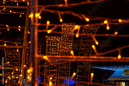 New Year and Christmas 2019 festive illumination of bokeh and blur - 241949382