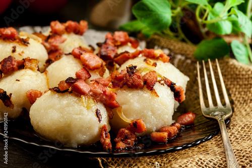 Potato dumplings stuffed with meat - 241950142