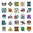 video game pixel perfect color line icons