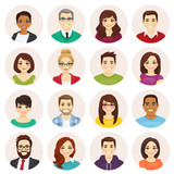 Smiling people avatar set isolated vector illustration - 241951113