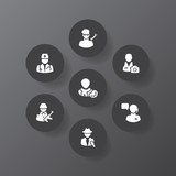 Set of 7 job icons set. Collection of doctor, operator, designer and other elements. - 241964502