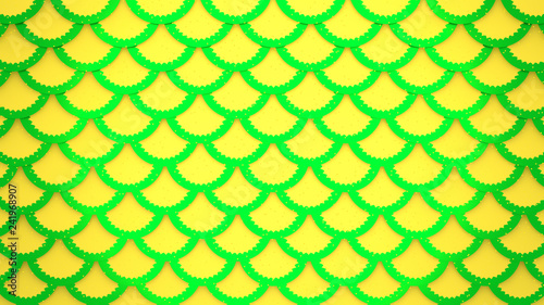 Leinwandbild Motiv Yellow green fish scales bright cells pattern marine background 3D illustration