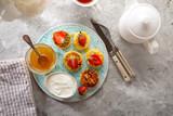 Breakfast curd pancakes and tea top view - 241971382