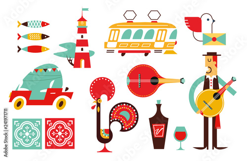 Portugal vector icon set simple modern symbols