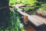 Wooden Footbridge In Japanese-Style Garden