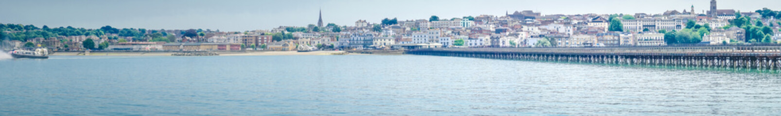 Panoramic view from the sea on the town of Ryde on the Isle of Wight in Great Britain. © Martina