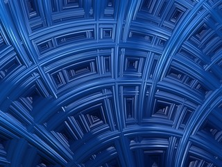 Abstract blue fractal textural background. Wall with geometric patterns. 3d render for poster, design and entertainment. Background for website and flyer.