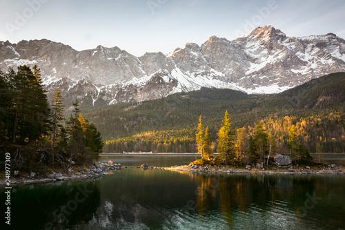 Leinwanddruck Bild Eibsee Panorama