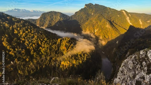 Misty morning in the canyon, mountain sunrise landscape in Poland, time lapse