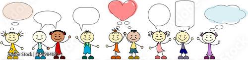 Kinder verschiedener Nationen mit Sprechblasen - 241984189