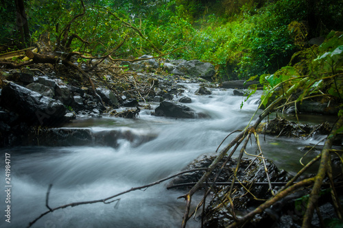 The small waterfall  in nature forest. Omkoi, Chiang Mai province, Thailand - 241984717