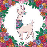 Beautiful llama, alpaca portrait with flowers frame. Vector, sketch, outline, cartoon Illustration