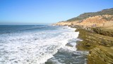 California Cliffs, Slow Motion Waves, Point Cabillo, San Diego California - 241990194