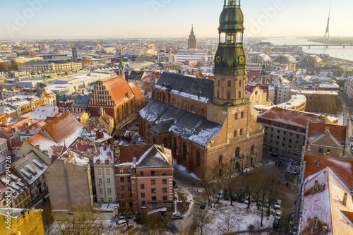 Riga aerial winter day view during Christmas time.