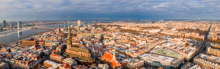 Riga aerial winter day view during Christmas time. © ingusk