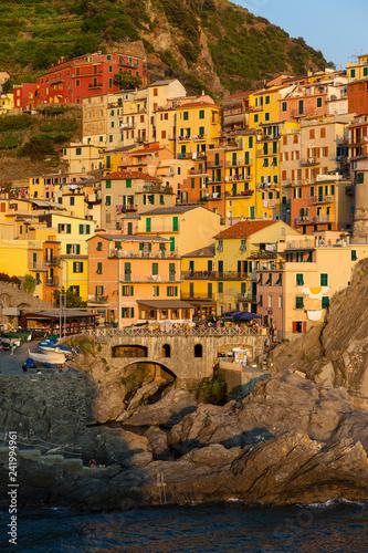 Manarola, village with colorful houses, Cinque Terre, Liguria, Italy, July 2013
