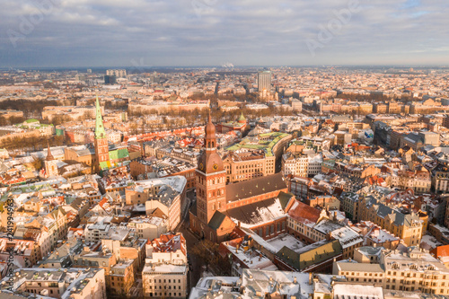 Foto Murales Riga aerial winter day view during Christmas time.