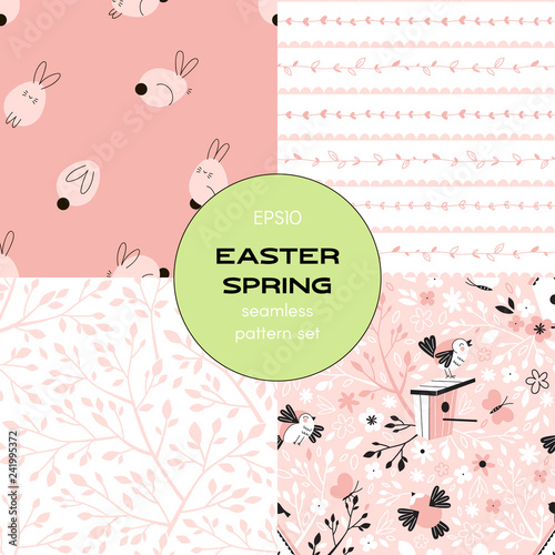 obraz PCV Pink Graphic Easter Spring seamless patterns set. Floral stripes, Bunny, Branch and Bird Flat vector graphic background for packaging, cardmaking, scrapbook and more.