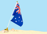 A small Australian flag planted in sand with shells and a blue background. Copy space. Good for any Australian holiday - 241995535