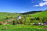 View of  village in spring sunny day