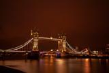 Tower Bridge in London at night.