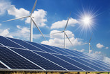 solar panel and wind turbine blue sky with sun background. concept clean power energy - 241997791
