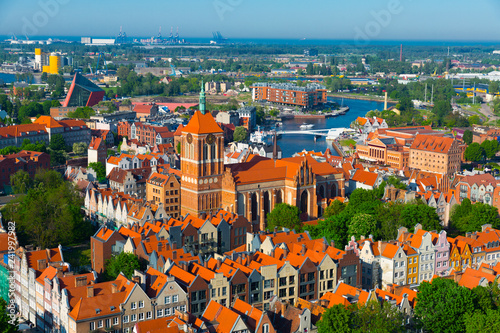 View from drone on summer cityscape of Gdansk