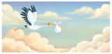 cigüeña volando con bebe en el cielo