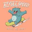 Funny hippopotamus rides on skateboard