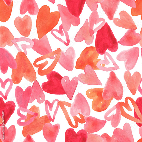 seamless pattern full of red heart design for valentine's day, illustration background