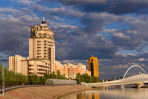 Foto Murales Multi-storey residential complex on the embankment in Astana, the capital of Kazakhstan