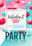 Happy Valentine`s Day disco party poster. Valentine background love heart - 242015188