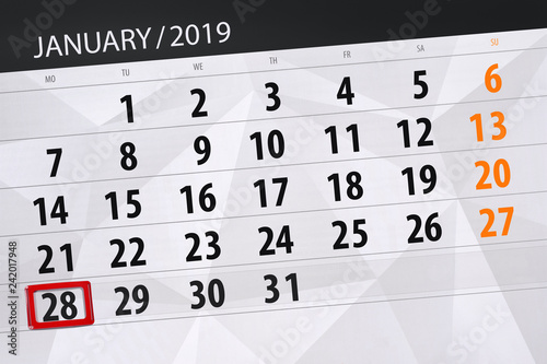 Calendar planner for the month january 2019, deadline day, 28, monday