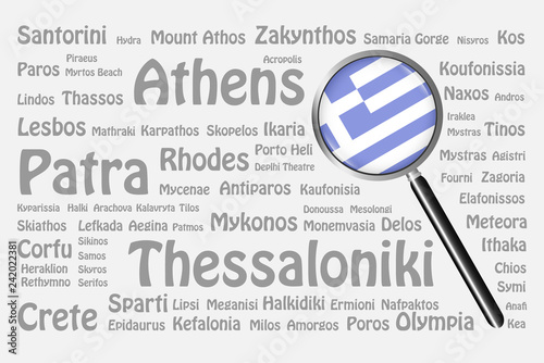 The best travel destinations of Greece concept