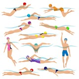 Swimmers vector. Various characters swimming people in action poses, sport man swim action - 242026538