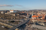Cityscape of Bratislava, city center. Aerial view