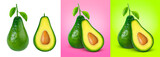 Avocado isolated on white, pink and green background