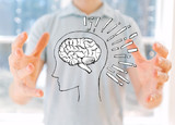 Brain illustration with young man holding his hands - 242032175