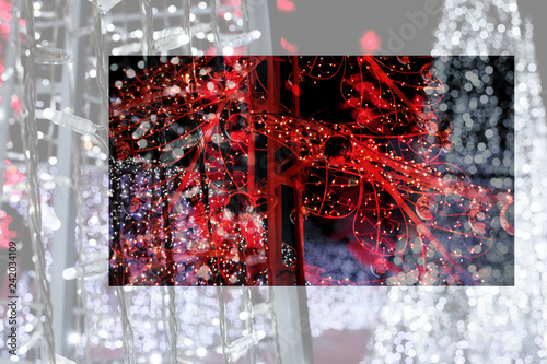 Lights of streets decorated form Christmas tree in city - 242034109