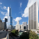 Street, buildings and blue sky in Chicago - 242042710