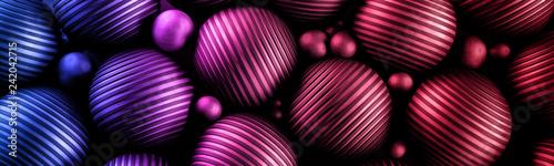 Ozdobne czerwone kule 3D na ciemnym tle - 242042715