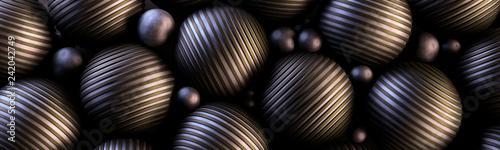 Ozdobne stalowe kule 3D na ciemnym tle - 242042749