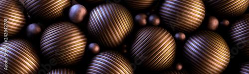 Ozdobne miedziane kule 3D na ciemnym tle - 242042781