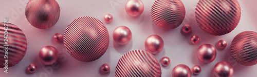 Różowe kule 3D na jasnym tle - 242042798