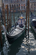 gondola prepared for a ceremony. Magnificent boat ready to parade in the canals of Venice