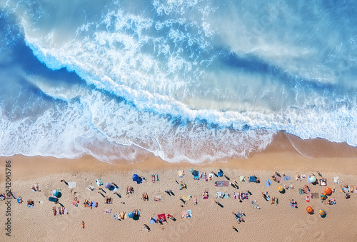 mata magnetyczna Aerial view at the beach. Turquoise water background from top view. Summer seascape from air. Top view from drone. Travel concept and idea
